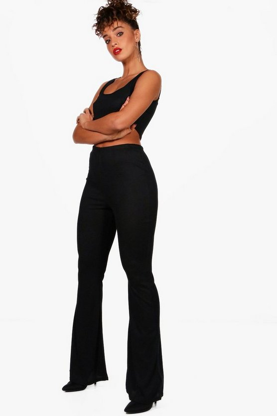 Basic Rib and Flared Trouser Co-ord, Black, Donna