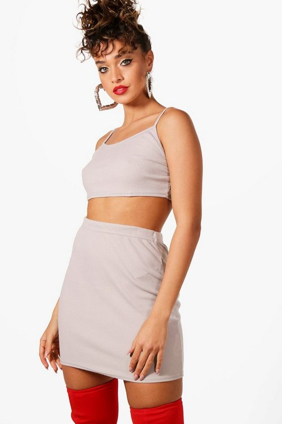 Alice Basic Rib Bralet and Mini Skirt Co-ord