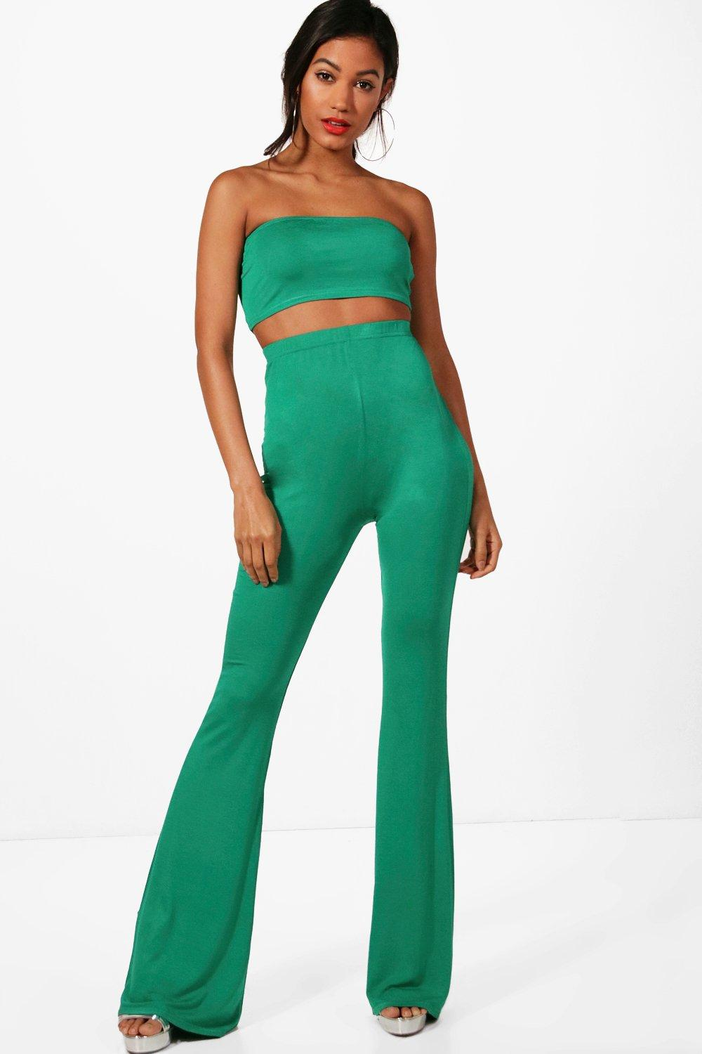 and ord green Trouser leaf Basic Co Bandeau Flared Sqx4Xgcw5v