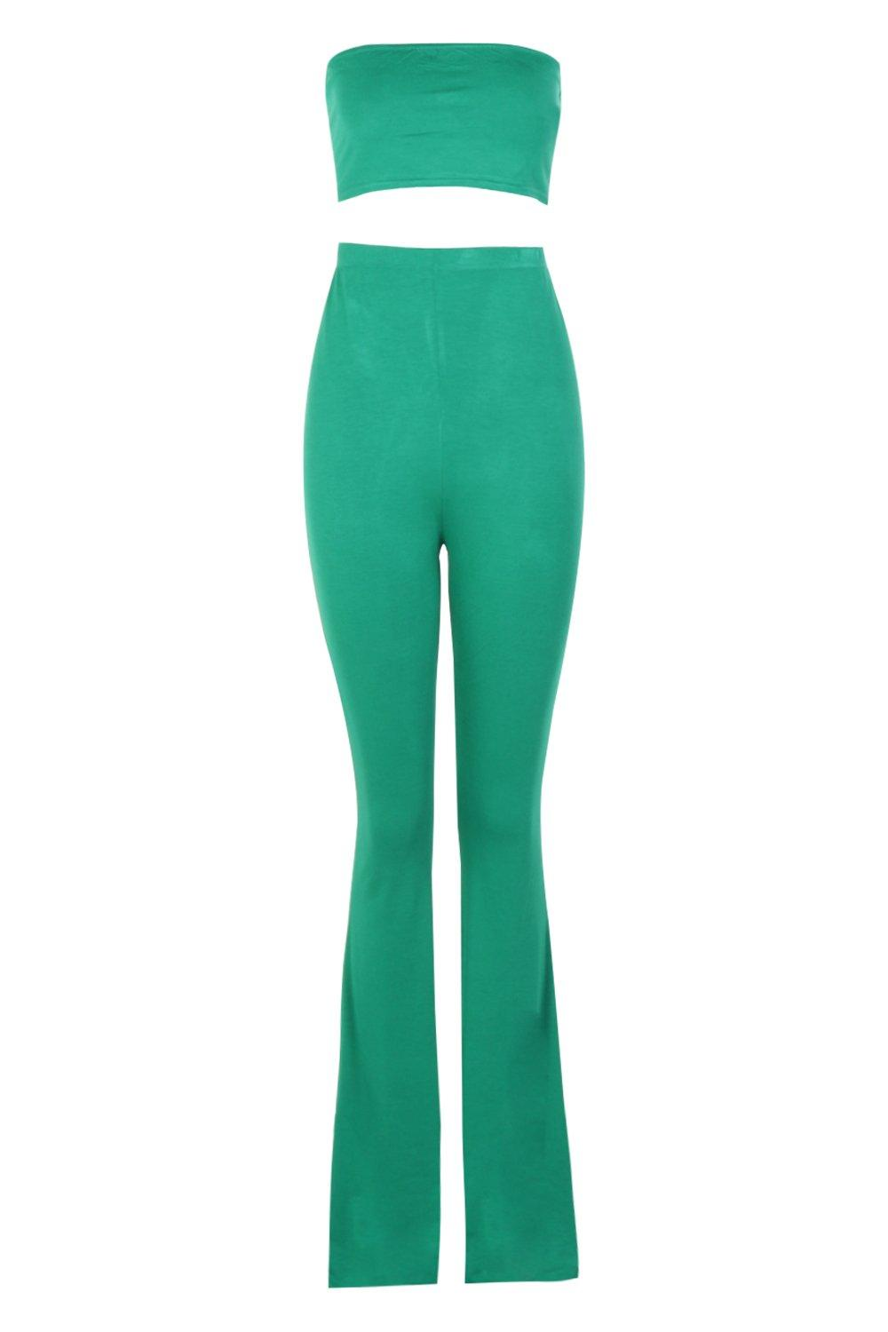 Co green Trouser Flared and Basic leaf Bandeau ord wIHOzqz