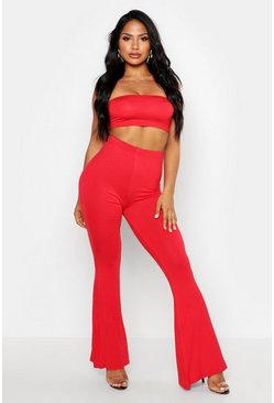 Red Basic Bandeau And Flared Pants Co-Ord