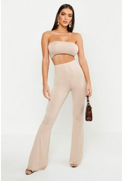 Womens Stone Basic Bandeau And Flared Pants Co-Ord