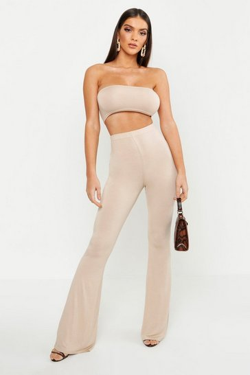 Womens Stone Basic Bandeau and Flared Trouser Co-ord