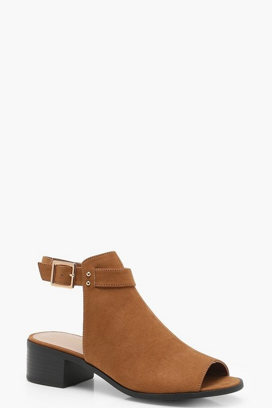 Peeptoe Buckle Shoe Boots, Tan, ЖЕНСКОЕ