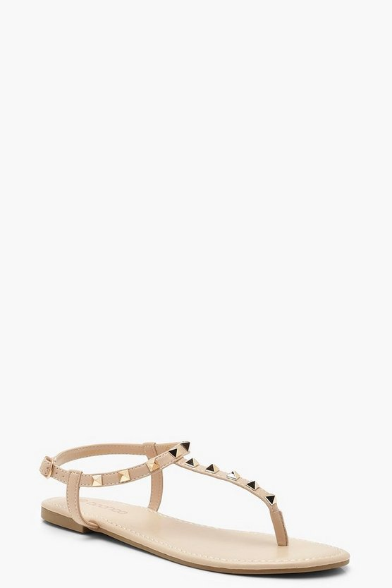 Studded T Bar Sandals, Nude, MUJER