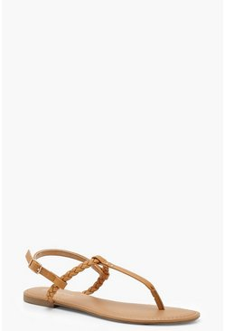 Pleated T Bar Sandals, Tan, MUJER