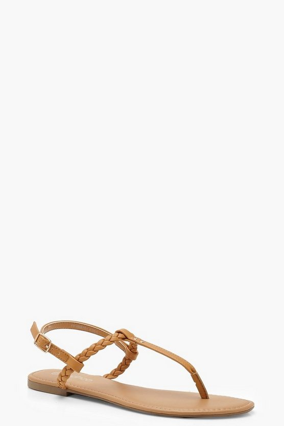 Womens Tan Pleated T Bar Sandals
