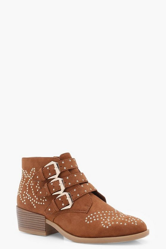 Stud and Buckle Ankle Boots