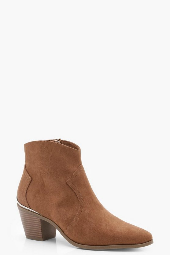 Metal Trim Pointed Ankle Boots