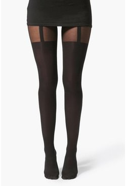 Womens Black Mock Suspender Tights