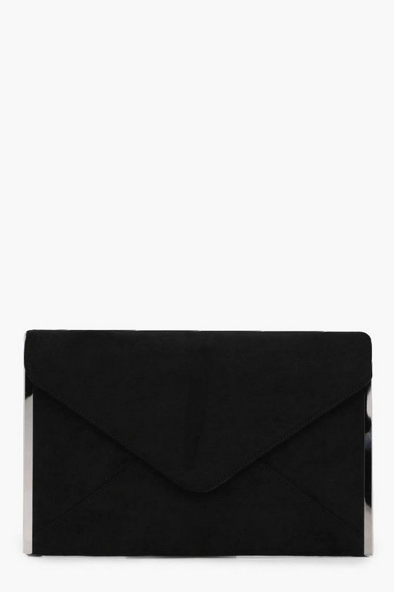 Kelly Side Bar Suedette Envelope Clutch