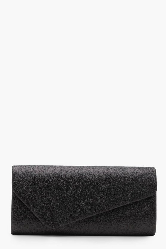 Sarah Asymetric Glitter Clutch With Chain