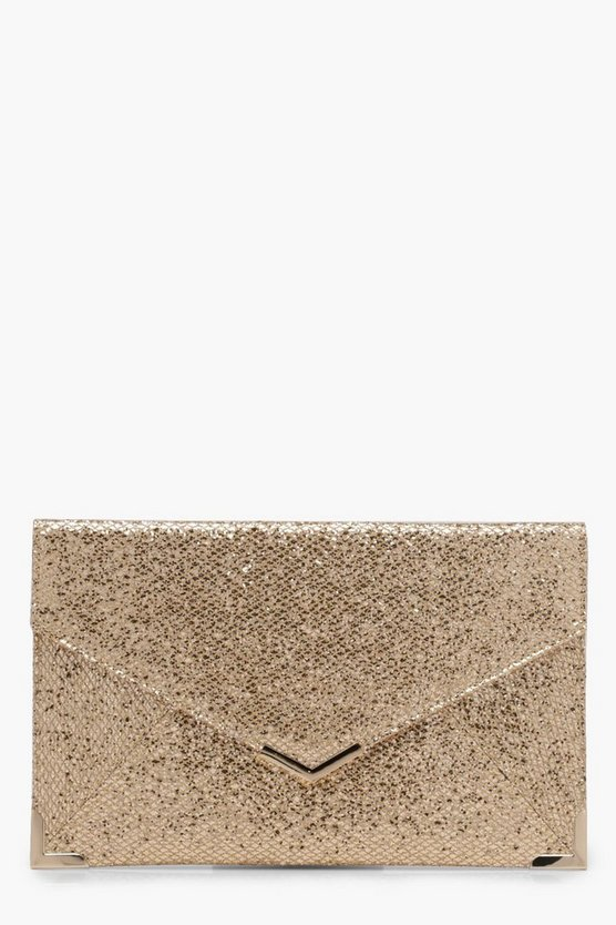 Womens Gold Yasmin Glitter Envelope Metal Detail Clutch