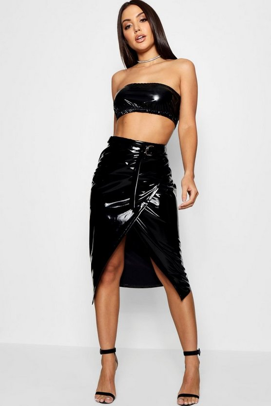Vinyl Wrap & Belted Midaxi Skirt