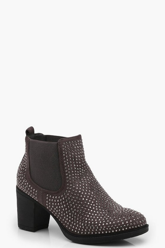 Diamante Detailed Chelsea Boots