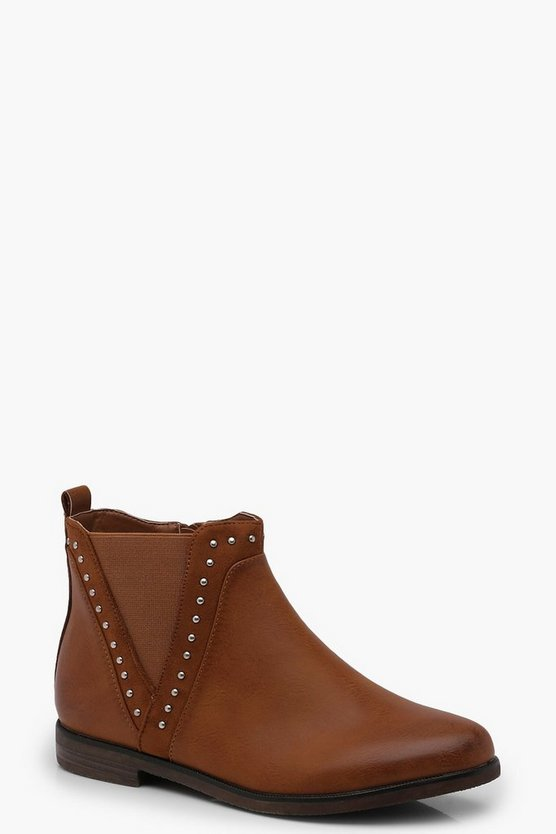 Pin Stud V Cut Chelsea Ankle Boots