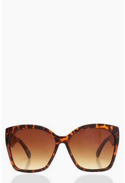 Womens Brown Oversized Tortoiseshell Sunglasses