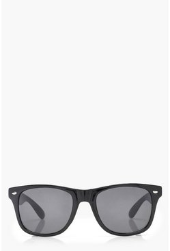 Womens Black Square Frame Sunglasses