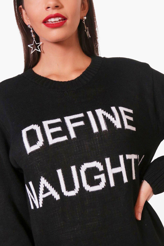 new boohoo womens define naughty christmas jumper in acrylic ebay