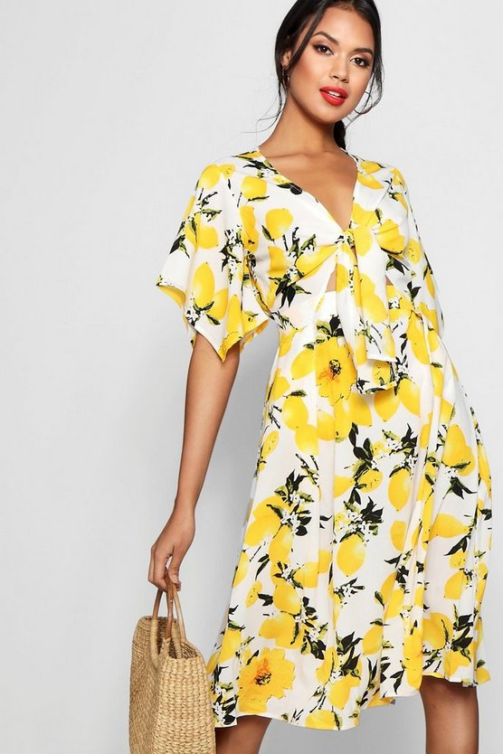 Knot Front Lemon Print Midi Dress
