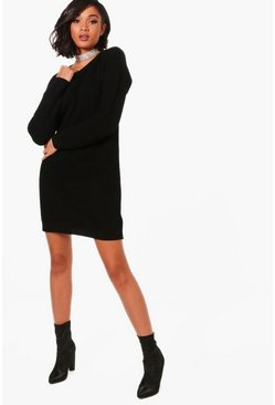 Womens Black Knitted Dress
