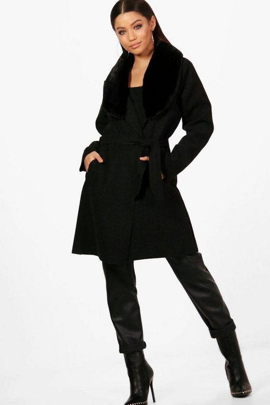Womens Black Faux Fur Collar Coat