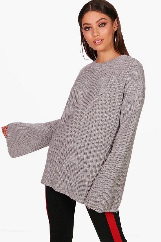 Oversized Wide Sleeve Knitted Jumper