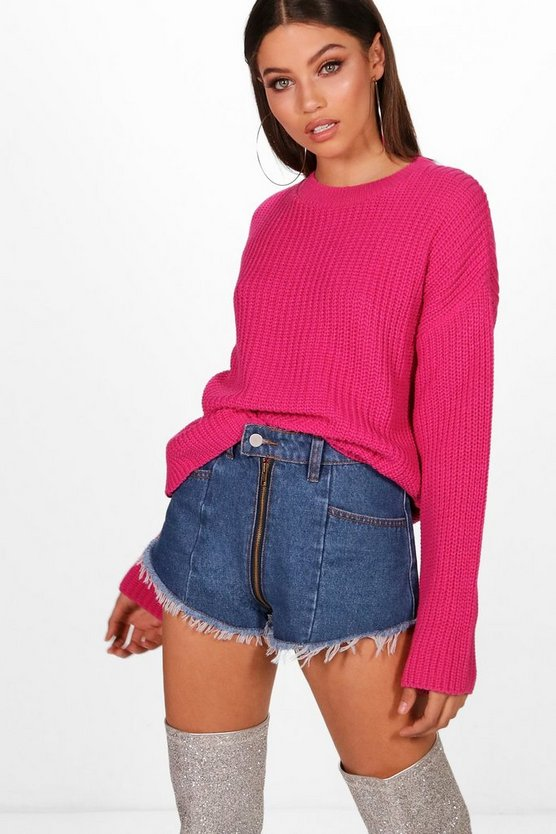 Ebony Cropped Wide Sleeve Knitted Jumper