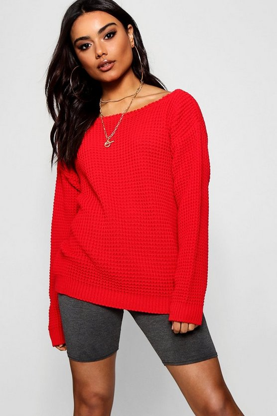 Slash Neck Knitted Jumper