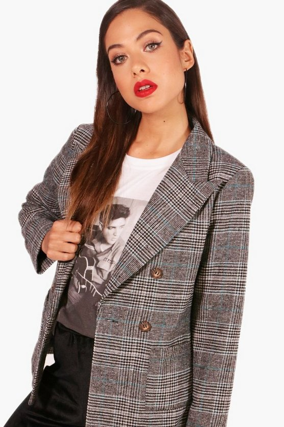 Check Boxy Crop Coat