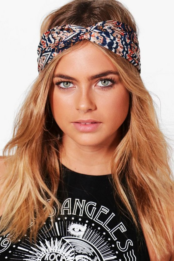 Womens Blue Blue Aztec Print Turban Headband
