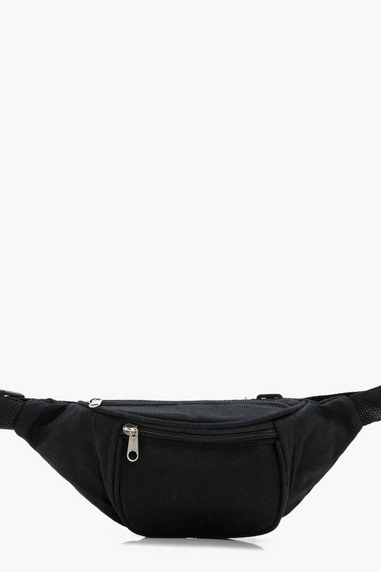 Womens Black Fabric Bumbag