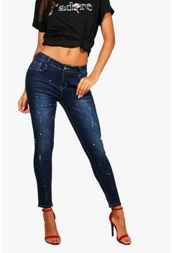 Tina Mid Rise Skinny Jeans, Blue, MUJER