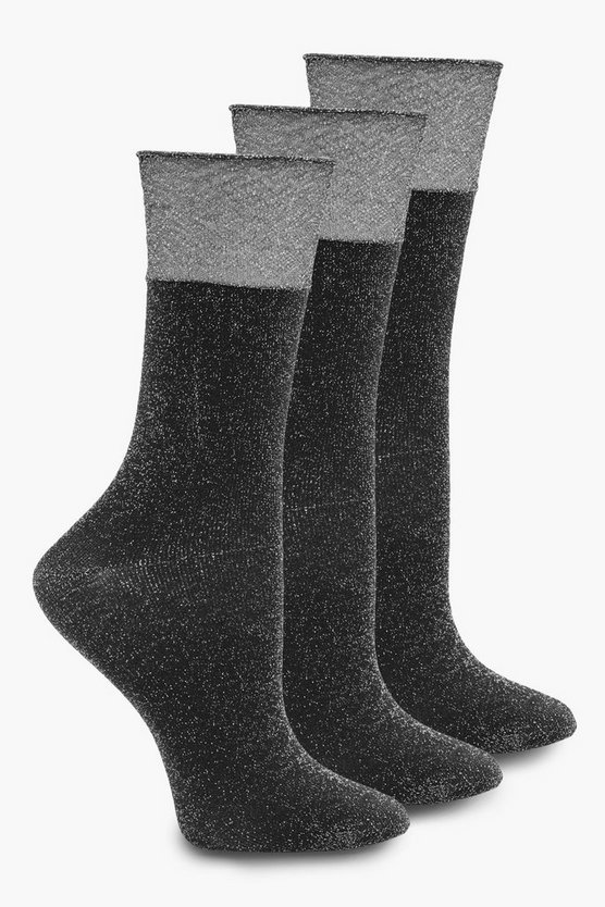 Lucy 3 Pack Sheer Top Glitter Socks