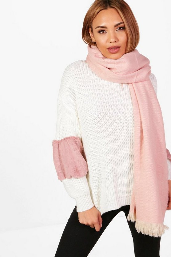 Amy Brushed Herringbone Oversized Scarf