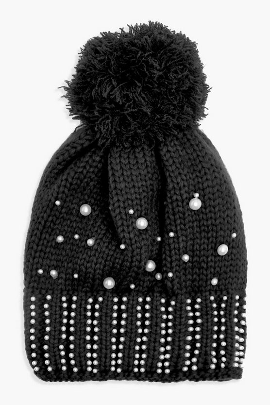 Pearl Embellished Fleece Line Beanie