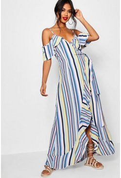 Ruffle Striped Wrap Maxi Dress, Mustard, Donna