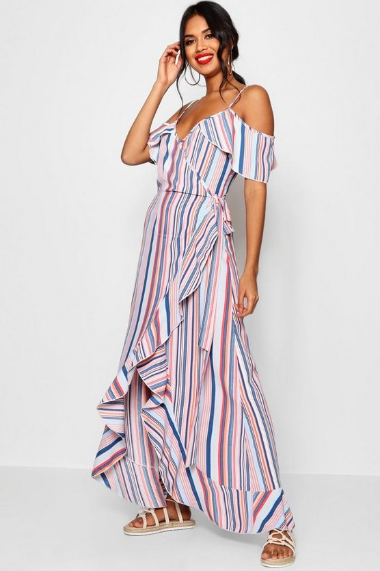 Ruffle Striped Wrap Maxi Dress