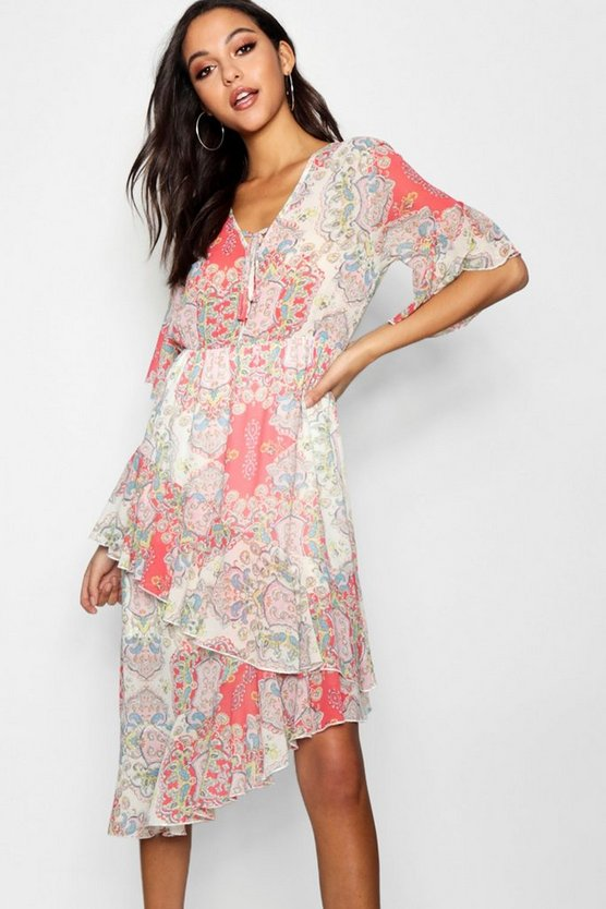 Paisley Print Asymmetric Ruffle Maxi Dress