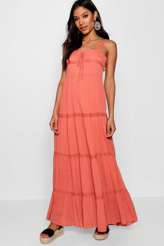 Womens Eliza Lace Insert Tiered Maxi Dress