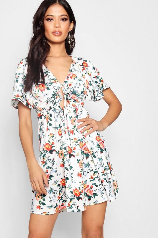 Ruched Cut Work Floral Tea Dress