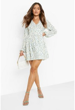 Ivory Ruched Waist Floral Tea Dress