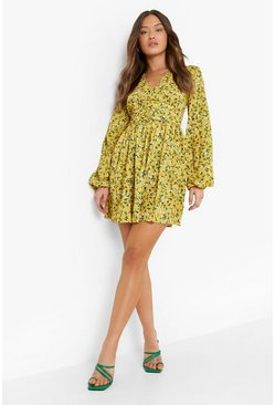 Womens Mustard Ruched Waist Floral Tea Dress