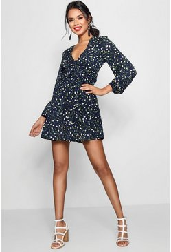Navy Ruched Waist Floral Tea Dress