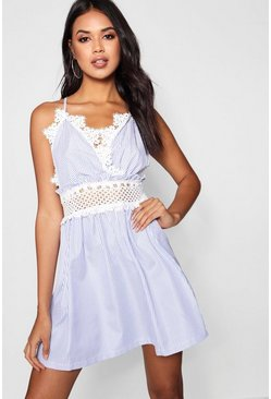 Blue Crochet Insert Striped Smock Dress