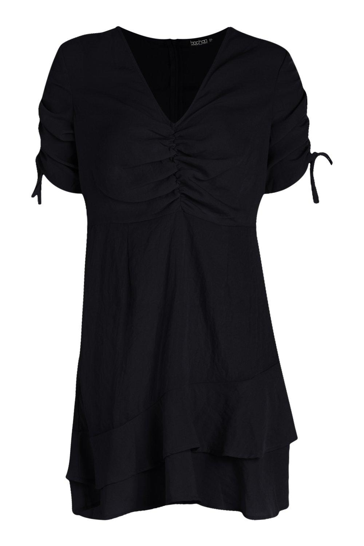 Boohoo-Womens-Ruched-Bust-Drawcord-Sleeve-Tea-Dress