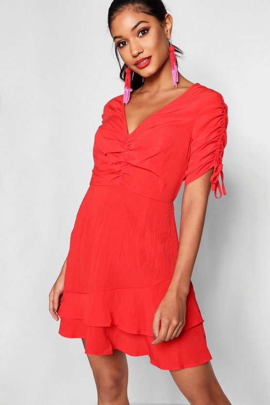 Ruched Bust Drawcord Sleeve Tea Dress