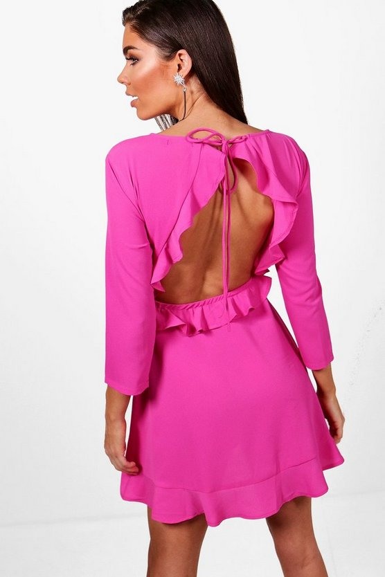 Open Back Ruffle Tea Dress