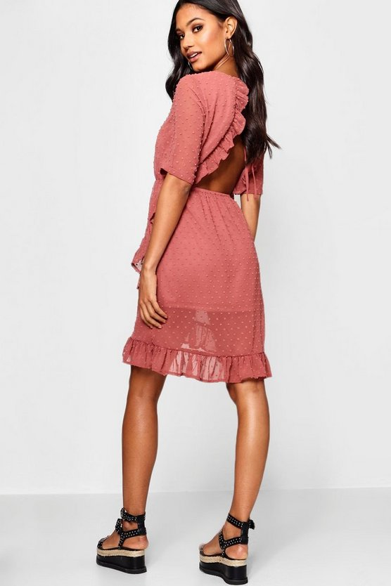 Dobby Chiffon Backless Ruffle Tea Dress