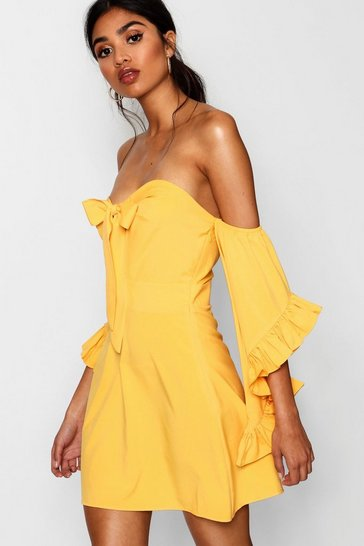 Womens Mustard Knot Front Exaggerated Sleeve Skater Dress